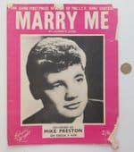 Marry Me vintage sheet music 1960s love song Laurence Jacks Mike Preston ukulele